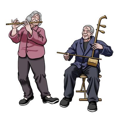 老人开心娱乐写实免抠元素