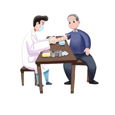 老人体检卡通免抠元素