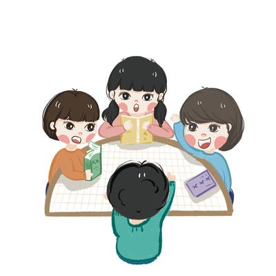暖色四个小朋友上课举手插画