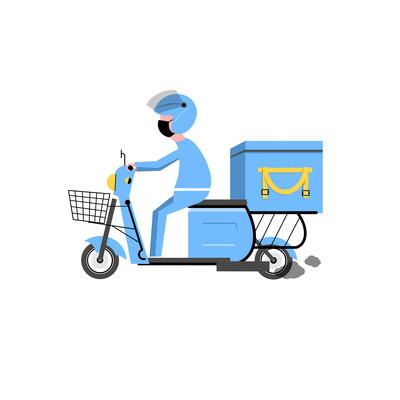 骑摩托的外卖员