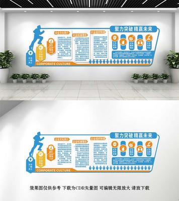 企业商务蓝色文化墙设计