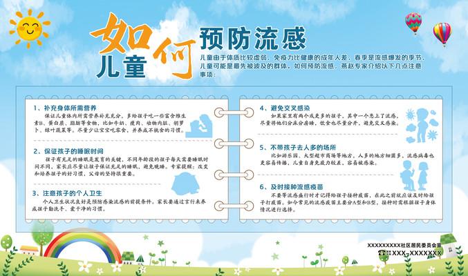 社区医院医疗儿童展板广告预防流感展板