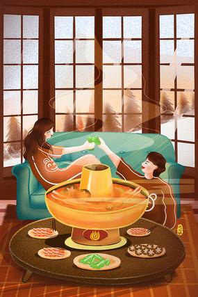 原创白露冬天吃火锅聚餐温暖温馨插画