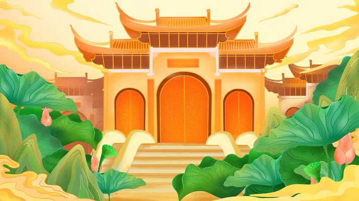 原创中国风国潮建筑荷花荷叶云层插画