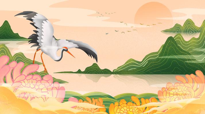 原创重阳节菊花云层仙鹤鸟群山峦插画