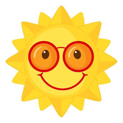 戴眼镜的太阳卡通