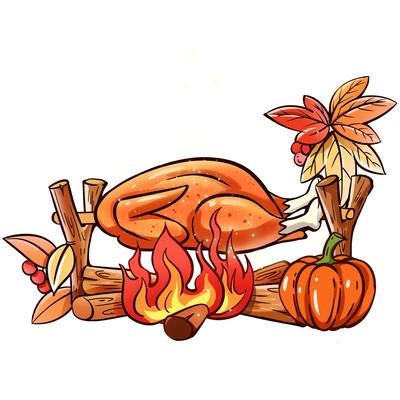 感恩节手绘火鸡烧烤PNG素材