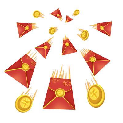 红包金币冲击感效果祥云手绘花边红包