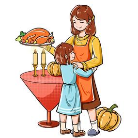 手繪感恩節女孩和母親吃火雞人物PNG素材