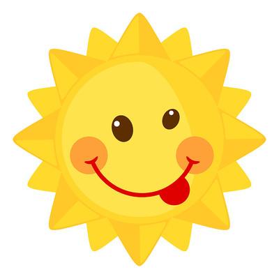 吐舌头的卡通太阳