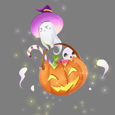 万圣节卡通幽灵和南瓜灯PNG素材