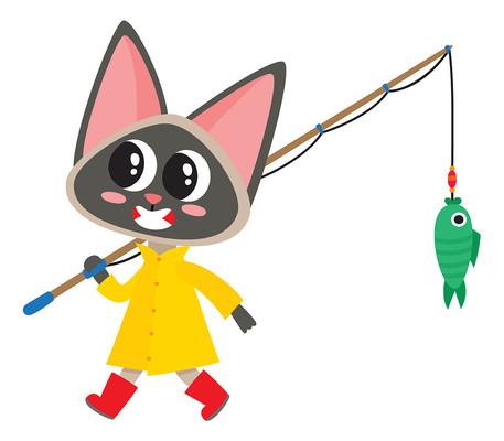 原创卡通钓鱼的小猫