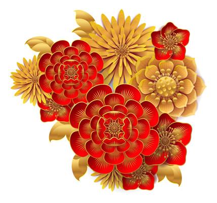中式剪纸风喜庆花朵