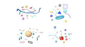 彩色质感C4D电商立体装饰元素