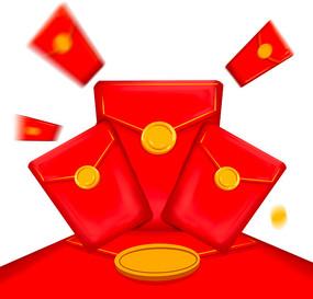 红灿灿都是红包双十一红包插画