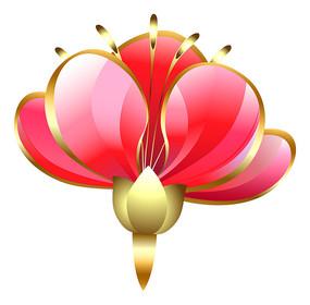 红色浮雕金边桃花