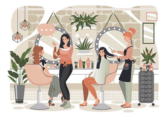 精致护理美发造型插画