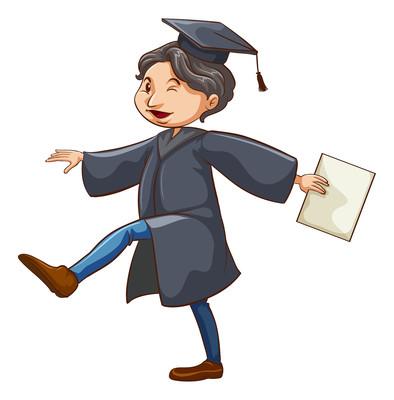 卡通参加毕业典礼的男孩