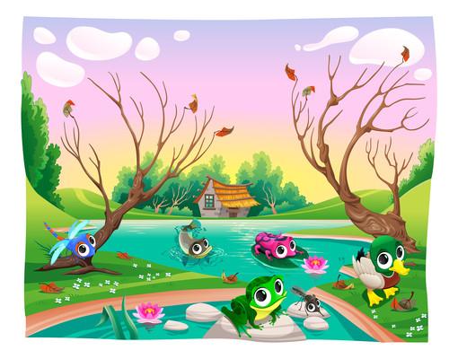 卡通动物大树河流风景画