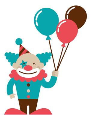 卡通拿气球的小丑