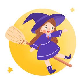 卡通女巫骑着扫把
