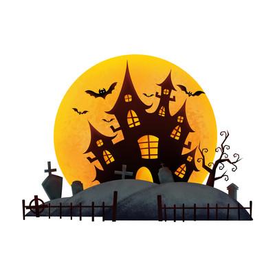 卡通万圣节城堡月亮