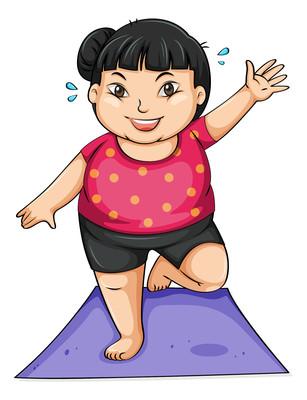 卡通做瑜伽减肥的人