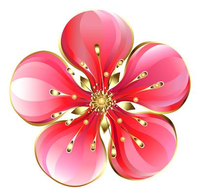 立体金边桃花