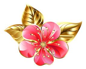立体金边桃花装饰品
