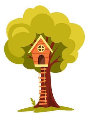 秋天树上的房子