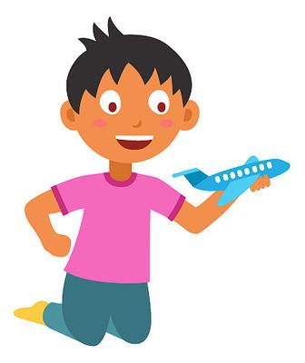玩飞机模型的男生卡通