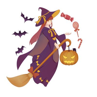 万圣节卡通女巫南瓜灯蝙蝠糖果