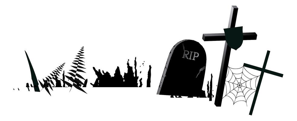 万圣节西方坟墓元素