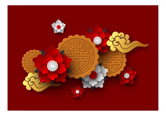 中国风花朵封面元素