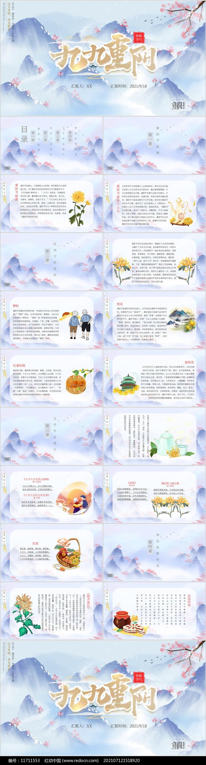 创意中国风重阳节PPT模板图片