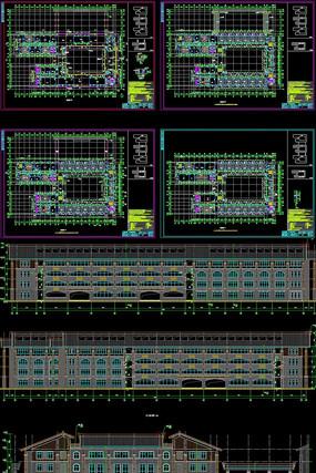 高中教学楼建筑项目CAD施工图立面图结构