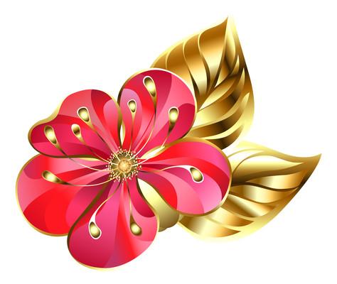 金边浮雕桃花俯视图