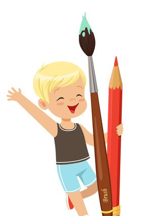女孩拿着毛笔跟彩色笔