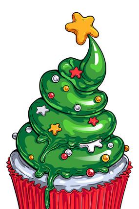 圣诞款纸杯蛋糕
