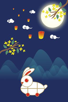 兔子灯桂花飘香中秋节日矢量插画素材