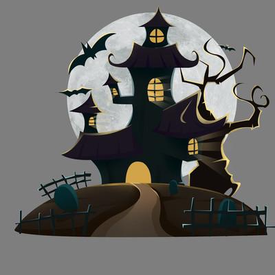 万圣节城堡恐怖扁平风蝙蝠肌理元素