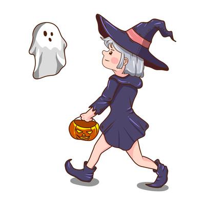 万圣节女巫南瓜头幽灵元素