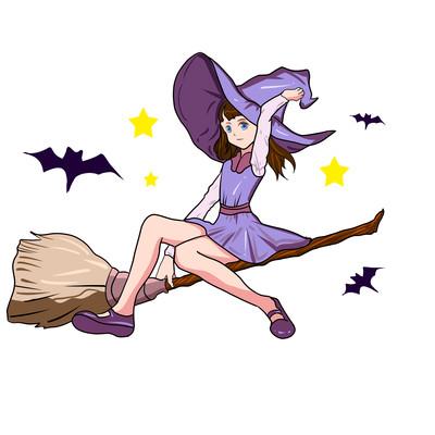 万圣节女巫骑扫帚元素