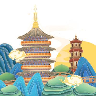中国风西湖建筑元素