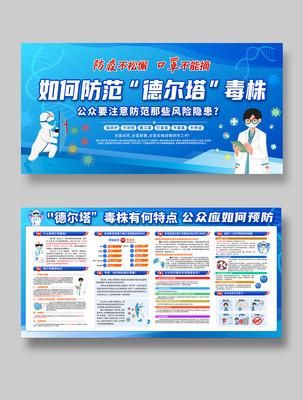 蓝色医疗预防德尔塔毒株防疫抗疫宣传展板