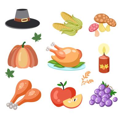 感恩节元素组合扁平水果鸡卡通免抠小元素