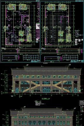 高中三层框架结构食堂建筑项目CAD施工图