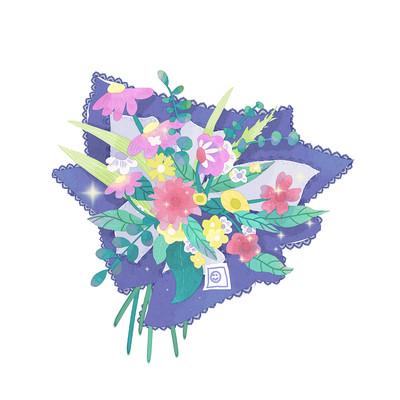 手绘花卉装饰元素