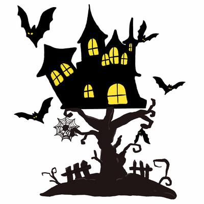 万圣节活动恐怖城堡小场景插画