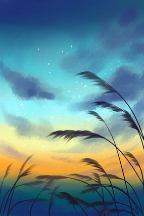 唯美草地星空远景和光效插画